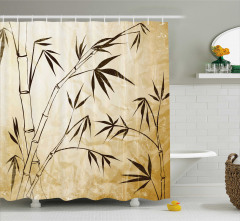 Bambu Desenli Duş Perdesi Kahverengi Çeyizlik