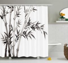 Bambu Desenli Duş Perdesi Siyah Beyaz Şık