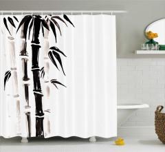 Siyah Beyaz Bambu Desenli Duş Perdesi Trend