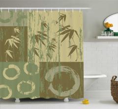 Bambu Desenli Duş Perdesi Ağaç Yeşil Yaprak