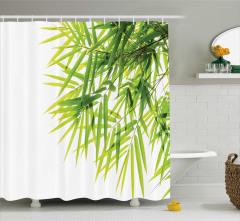 Bambu Yaprağı Desenli Duş Perdesi Yeşil Beyaz