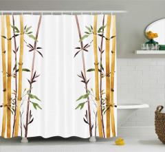 Bambu Desenli Duş Perdesi Çeyizlik Şık Tasarım