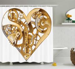 Mekanik Kalp Temalı Duş Perdesi Sevgili İçin