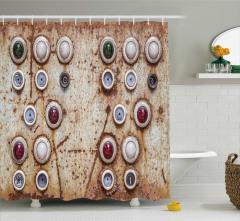 Nostaljik Duş Perdesi Rengarenk Düğmeler Trend