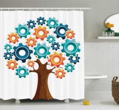 Ağaç Desenli Duş Perdesi Rengarenk Beyaz Fon