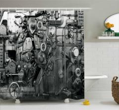 Fabrika Temalı Duş Perdesi Antik Siyah Beyaz