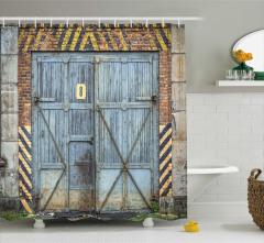 Ahşap Kapı Desenli Duş Perdesi Mavi Nostaljik