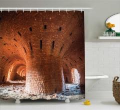 Fabrika Temalı Duş Perdesi Nostaljik Tuğla