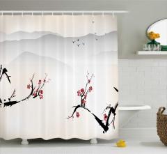 Kiraz Çiçekleri ve Kuş Desenli Duş Perdesi Şık