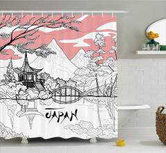Japonya Temalı Duş Perdesi Kiraz Çiçekleri