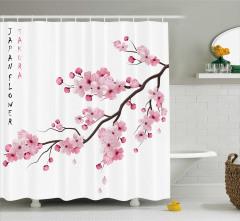 Pembe Kiraz Çiçekleri Desenli Duş Perdesi Şık