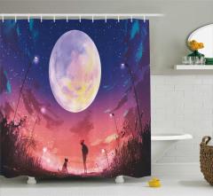 Gece ve Ay Temalı Duş Perdesi Kırmızı Köpek