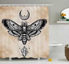Kelebek Desenli Duş Perdesi Kuru Kafa Bej