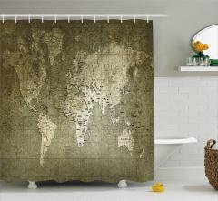 Dünya Haritası Temalı Duş Perdesi Nostaljik