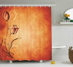 Çiçek Desenli Duş Perdesi Nostaljik Turuncu