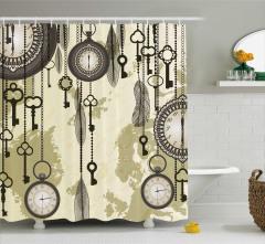Saat ve Anahtar Temalı Duş Perdesi Bej Antika