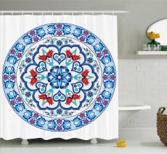 Çini Desenli Duş Perdesi Mavi Şık Tasarım