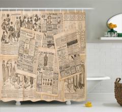 Antik Reklam Temalı Duş Perdesi Gazete Moda