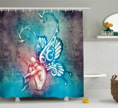 Peri Temalı Duş Perdesi Kelebek Kanat Mavi
