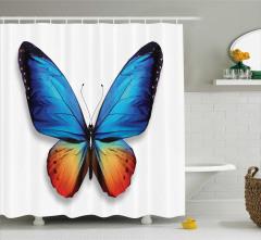 Kelebek Desenli Duş Perdesi Mavi Turuncu Şık