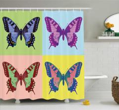 Pop Art Temalı Duş Perdesi Rengarenk Kelebek