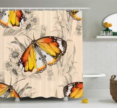 Kelebek Desenli Duş Perdesi Trend Çeyizlik