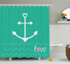 Aşk Temalı Duş Perdesi Yeşil Kalp Dalga Çapa