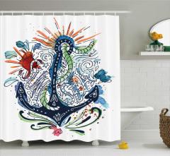 Çapa Desenli Duş Perdesi Sulu Boya Etkili Mavi