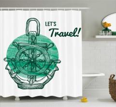 Yeşil Çapa Desenli Duş Perdesi Sulu Boya Şık