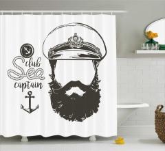 Kaptan Portreli Duş Perdesi Siyah Beyaz Şık