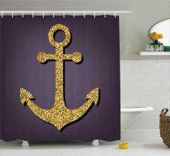 Parlak Çapa Desenli Duş Perdesi Deniz Sarı