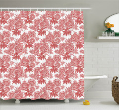 Pembe Duş Perdesi Çiçek Desenli Romantik Çeyizlik