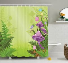 Sihirli Mantar Temalı Duş Perdesi Çiçek Pembe