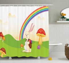 Çocuklar İçin Duş Perdesi Gökkuşağı Tavşan