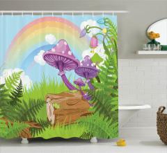 Mantar ve Çiçek Desenli Duş Perdesi Çocuk İçin