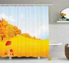 Mantar Desenli Duş Perdesi Sonbahar Sarı Kır