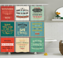 Afiş Desenli Duş Perdesi Kare Rengarenk Bilge