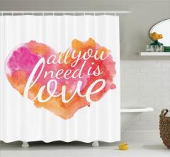 Aşk Temalı Duş Perdesi Sulu Boya Romantik