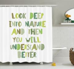 Doğa Temalı Duş Perdesi Yeşil Beyaz Çevre