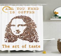 Kadın Portreli Duş Perdesi Kahve Beyaz Zemin