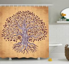 Ağaç Desenli Duş Perdesi Şık Tasarım Çeyizlik