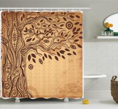 Ağaç Desenli Duş Perdesi Yaprak Etnik Şık