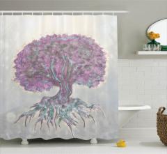 Hayat Ağacı Temalı Duş Perdesi Mor Şık Tasarım