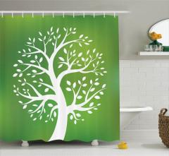 Ağaç Desenli Duş Perdesi Yeşil Beyaz Doğa
