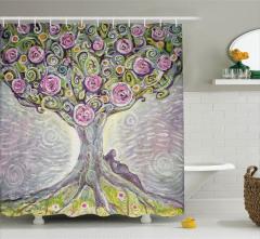 Hayat Ağacı Desenli Duş Perdesi Rengarenk Şık
