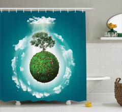 Ağaç ve Bulut Desenli Duş Perdesi 3D Etkili