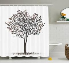 Ağaç Desenli Duş Perdesi Yaprak Siyah Beyaz