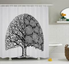 Ağaç Desenli Duş Perdesi Siyah Beyaz Yaprak