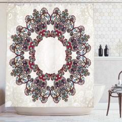 Mandala Desenli Duş Perdesi Çiçek Süslemeli Çeyizlik