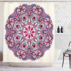 Mandala Desenli Duş Perdesi Rengarenk Çiçekler Pembe